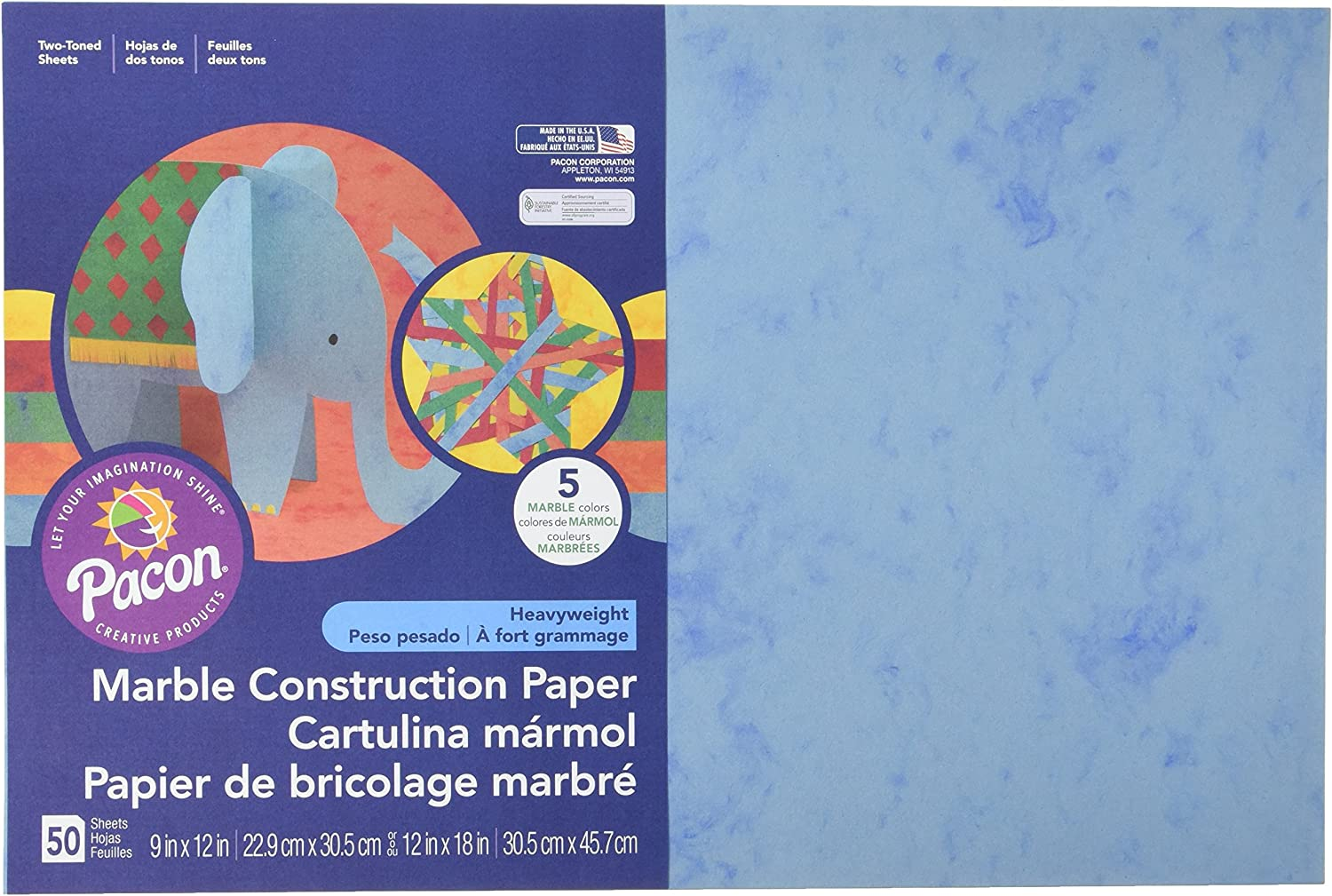 Pacon Glitter Construction Paper Pad 5 Assorted Colors 50 Sheets 9 x 11-1//2