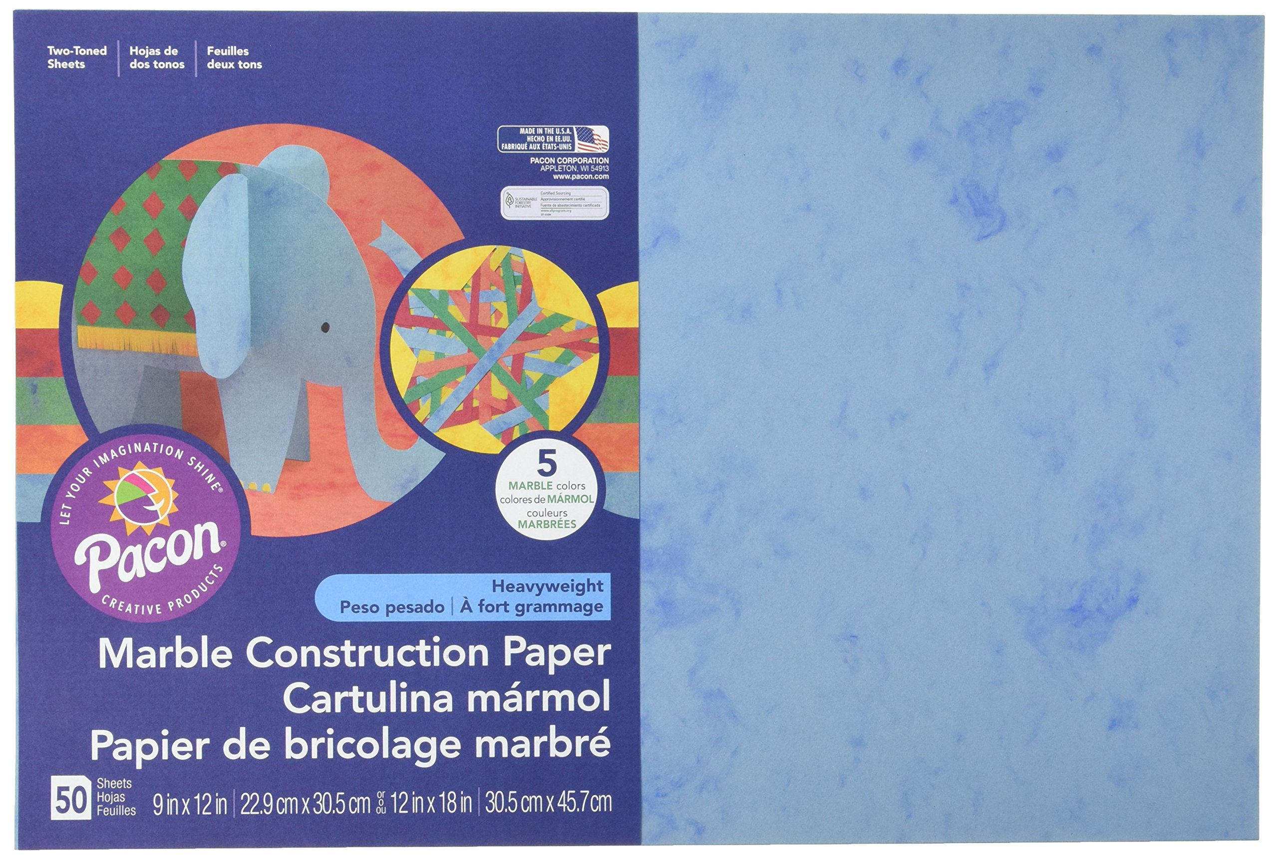 Pacon Marble Construction Paper, 12'' x 18'', 50-Count, Assorted Marble (148201)