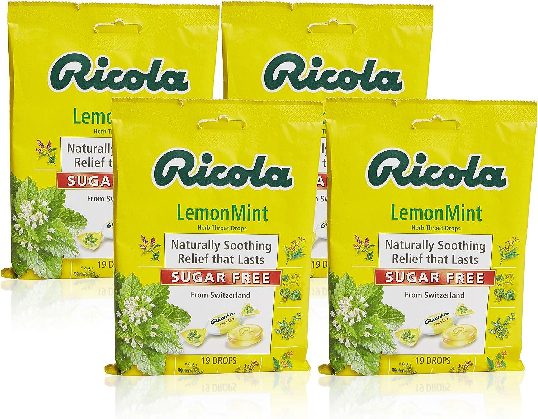 Ricola Sugar Free Lemon Mint Herbal Cough Suppressant Throat Drops, 19ct Bag (Pack of 4)