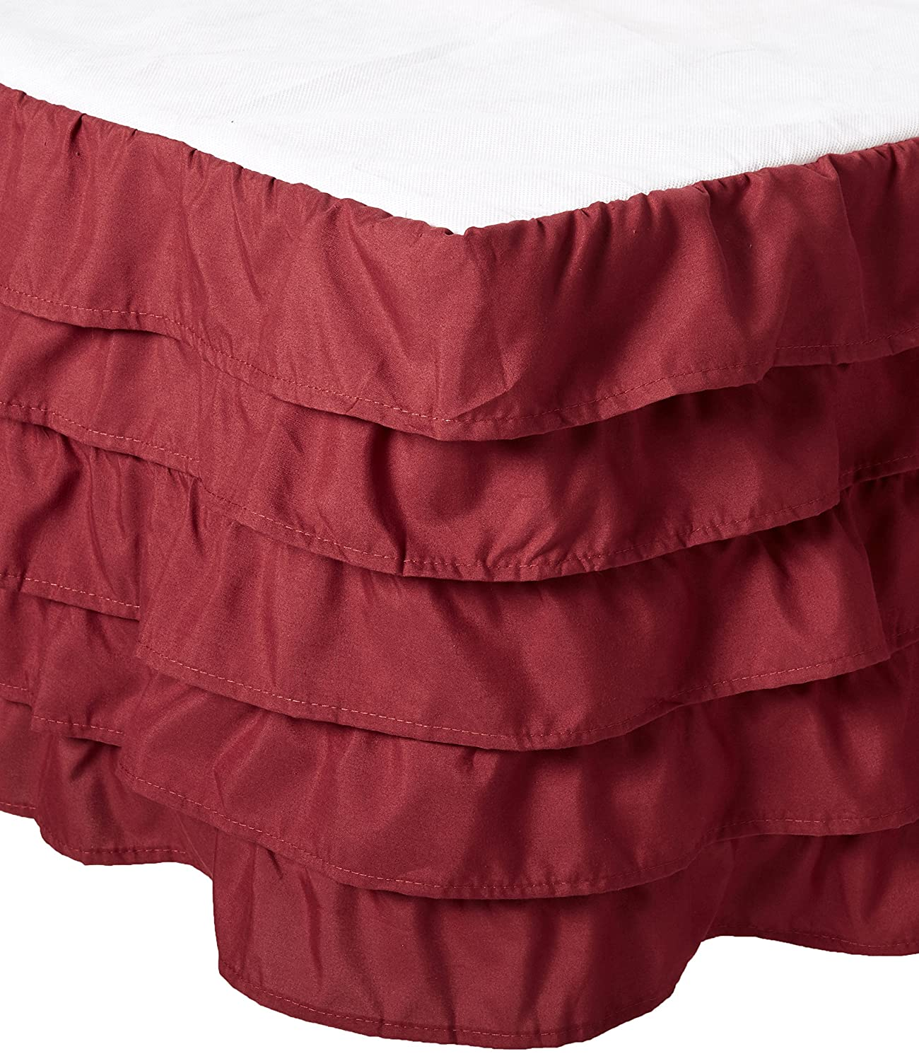 (California King, Burgundy) Elegant Comfort Luxurious Premium Quality 1500 Thread Count Wrinkle and Fade Resistant Egyptian Quality Microfiber Multi-Ruffle Bed Skirt 38cm Drop, California King, Burgundy B072336PJL California King|バーガンディー バーガンディー California King
