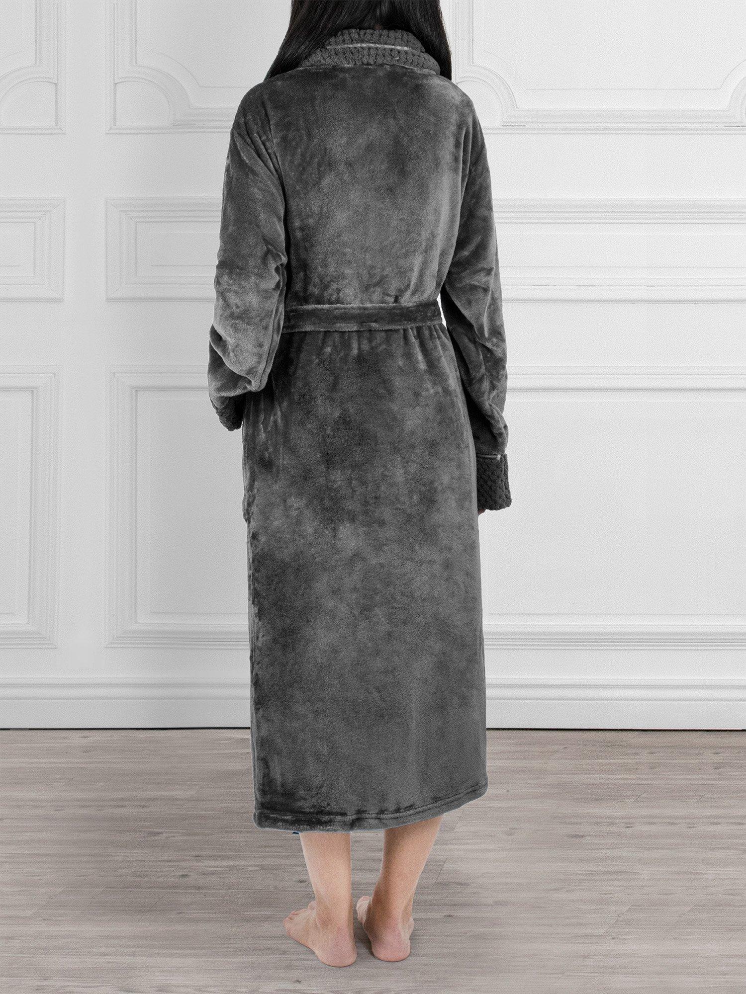 Deluxe Women Fleece Robe with Satin Trim | Luxurious Plush Spa Bathrobe Waffle Design by PAVILIA (Image #4)