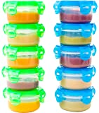 Elacra Baby Food Storage Freezer Containers - Baby Weaning Snack Pots - Toddler Feeding Bowls - 100 ml x 10
