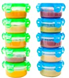 Elacra Baby Food Storage Containers BPA-Free Freezer Safe Microwavable Airtight Small Container Set, 10 Pack, 3.4oz