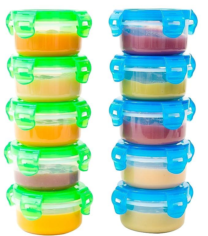 Recipientes pequeños Elacra para alimentos de bebés, sin BPA, apto para congelador y microondas, herméticos, 10 unidades de 97 ml
