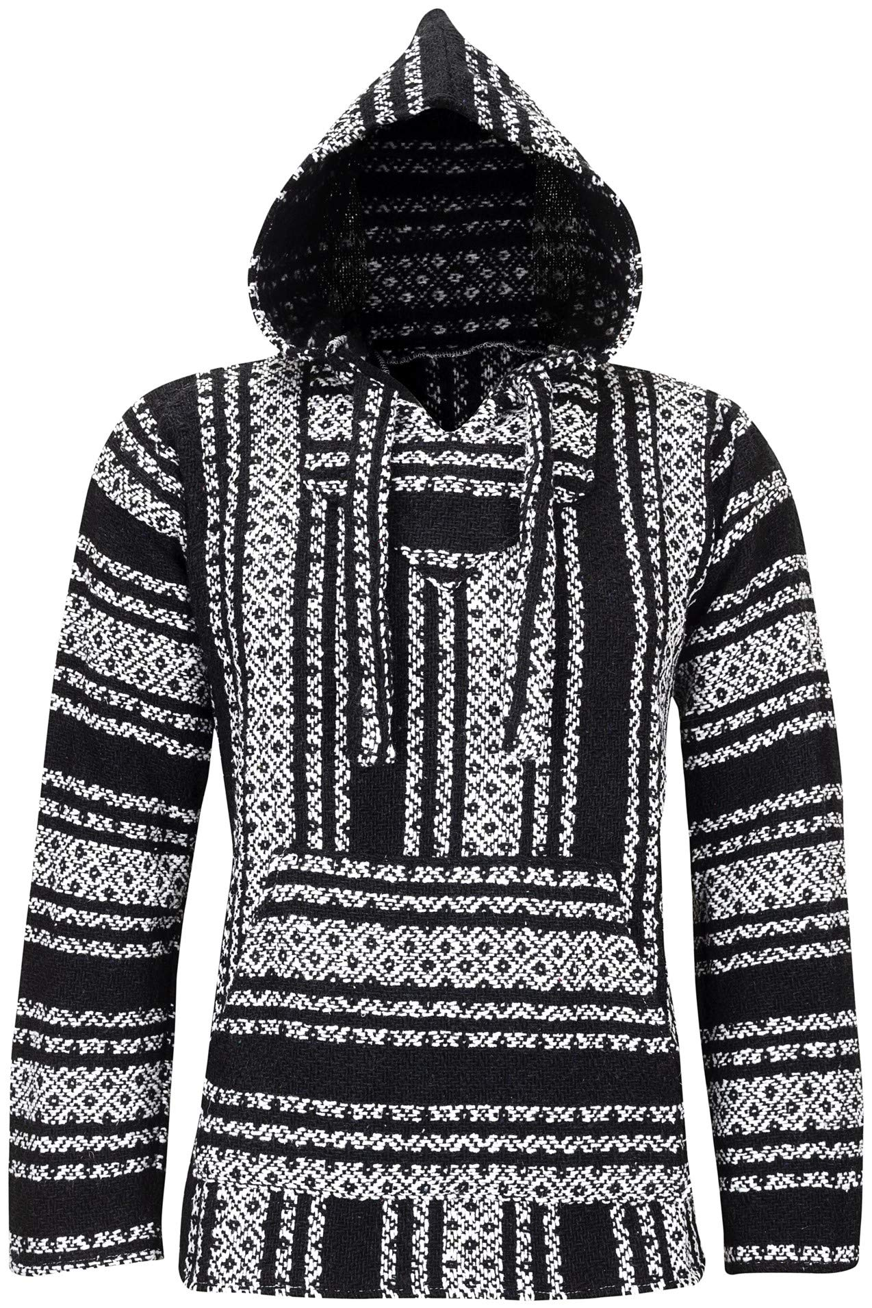 ÖLAND OUTDOORS Baja Hoodie Hippie Mexican Poncho Men Women Boys Girls – Made in Mexico – (Texture Pullover Hoody)