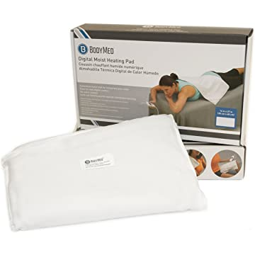 powerful BodyMed White Digital Electric Moist Heating Pad Delivers Therapeutic Warmth at Source of Pain 14 inch x 27 inch - White