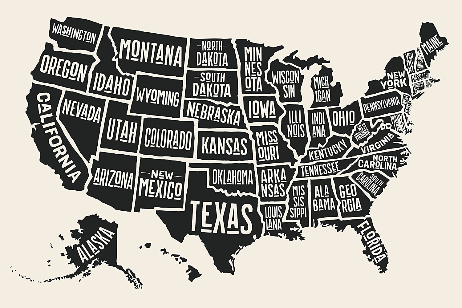Black And White Usa Map Amazon.com: EzPosterPrints   USA Maps with States Details Posters