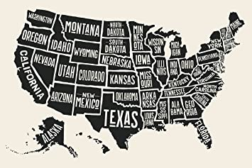 EzPosterPrints - USA Maps with States Details Posters - Poster Printing -  Wall Art Print for Home School, Classroom, Office Decor - Black and White -  ...