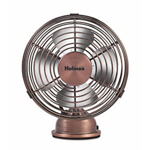 Holmes Heritage 4-Inch Mini USB Desk Fan, Brushed Copper