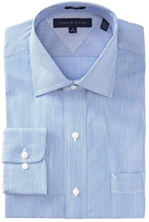 cc82414ac933cd Tommy Hilfiger Men's Regular Fit Navy and White Micro-Stripe Shirt (Blue) (