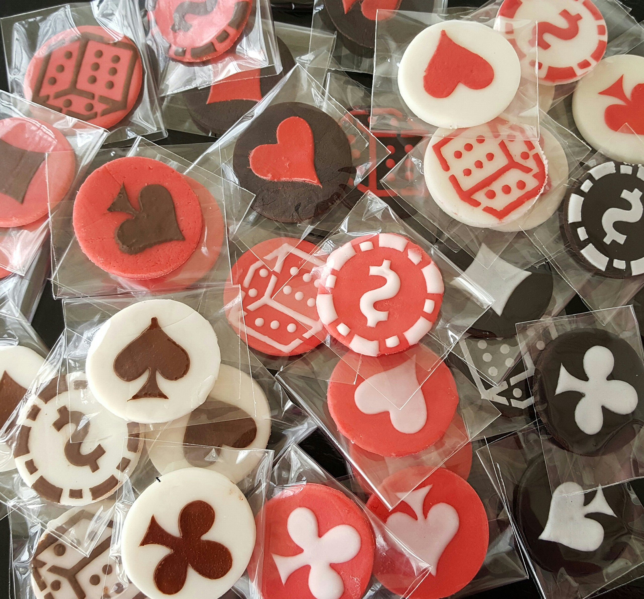 Poker 50 PC Edible Chocolate Fondant Casino Poker Topper - Cupcake, Cake, Cookie, Chocolate, Coffee, Tea, or any Dessert - Shown as the First Photo