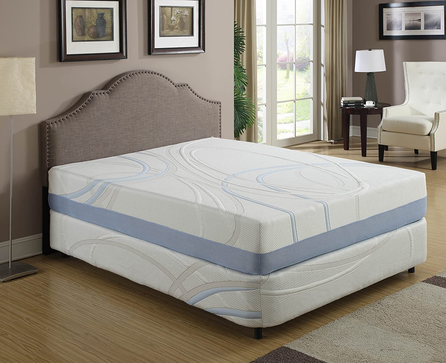 AC Pacific Full Size Charcogel Gel Infused Memory Foam Mattress With Shape Contouring Features, Full Size, White