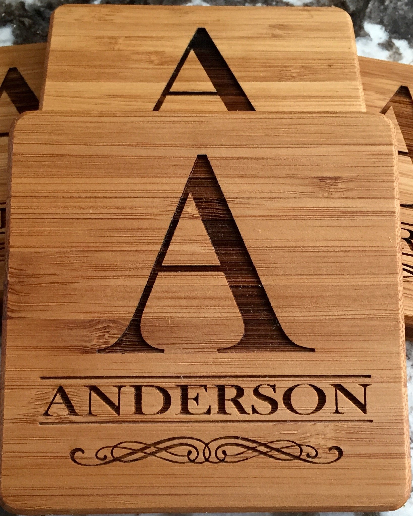 Monogram Wood Coasters for Drinks - Personalized Wedding Gifts, Bridal Shower Gifts (Set of 2, Anderson Design)