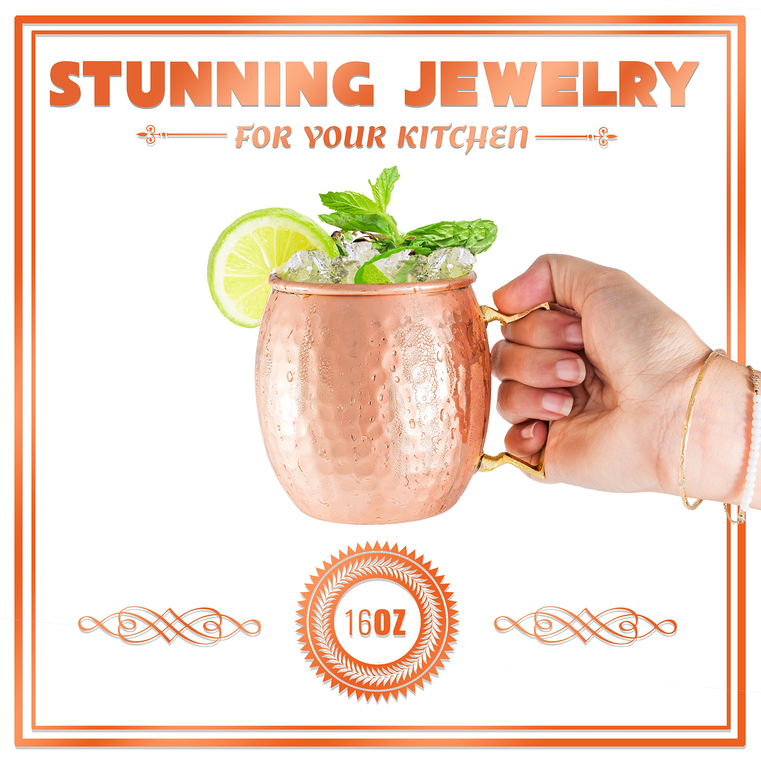 Moscow Mule Mugs 100% Solid Copper, Hammered, Gift Set of 4, No Nickel - Food Safe, 16oz, BONUS: 4 Straws + 1 Shot Glass & 2 E-Books by Copper-Bar by Copper-Bar (Image #8)