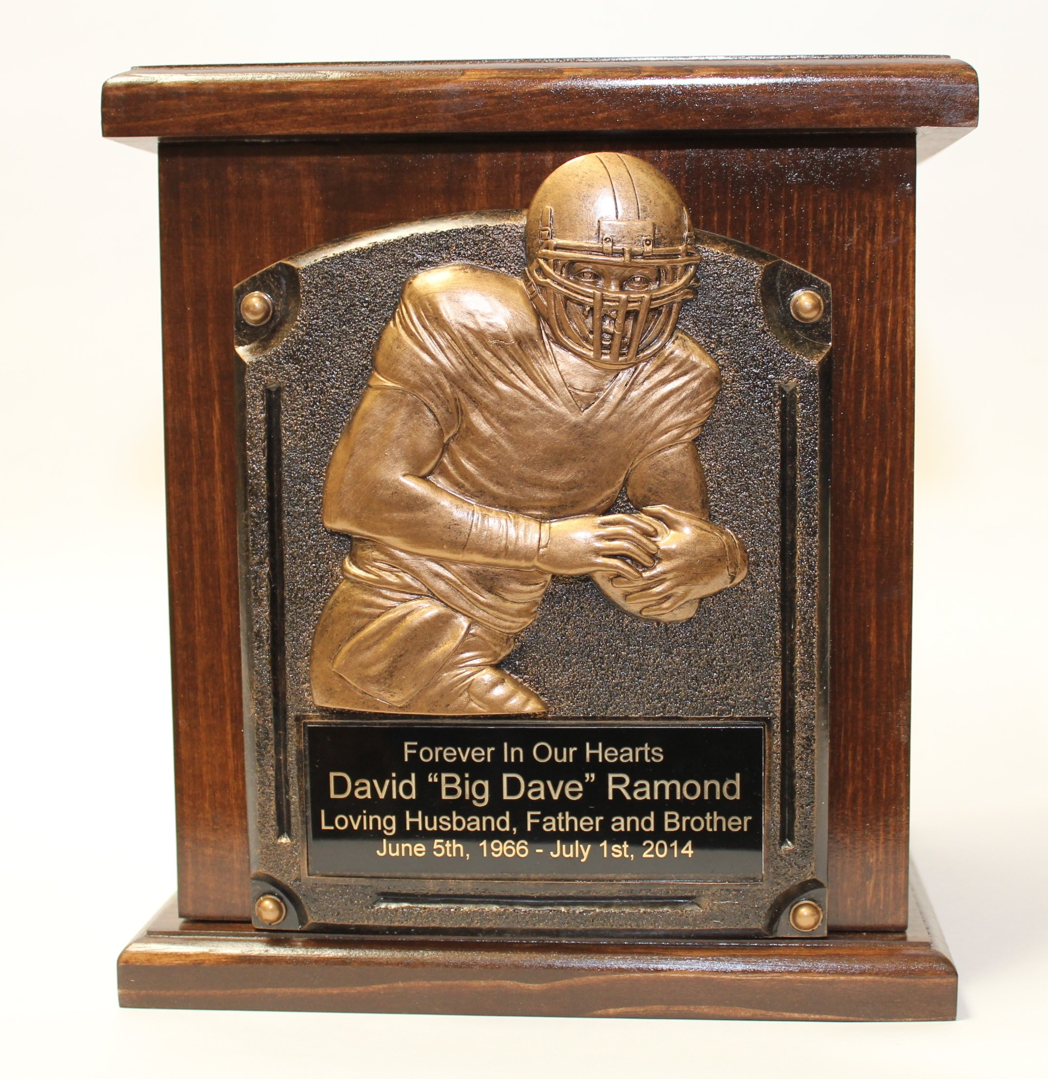 Football Adult Memorial Wooden Cremation Urn-Sports Funeral Urns- with Personalization by NWA