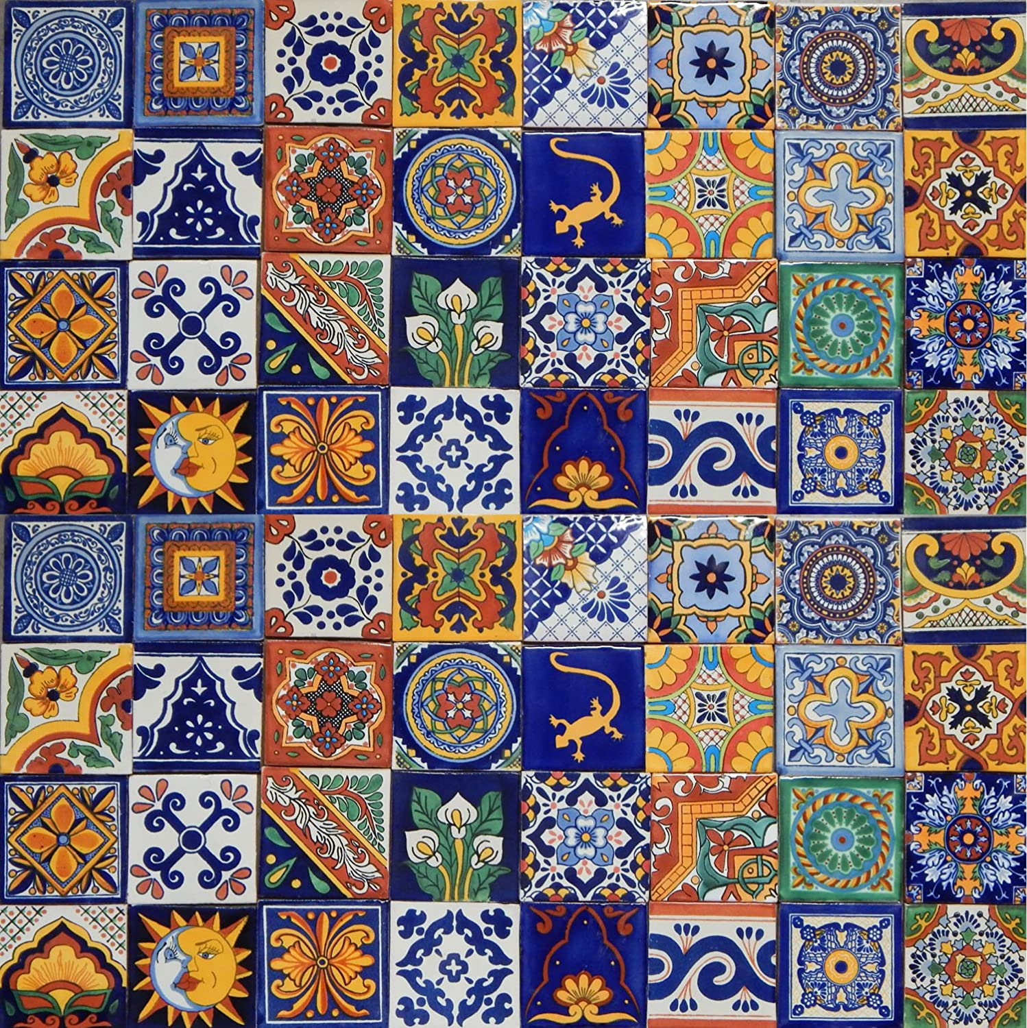 Shop amazon decorative tiles 100 mexican ceramic tiles handmade talavera tiles dailygadgetfo Gallery
