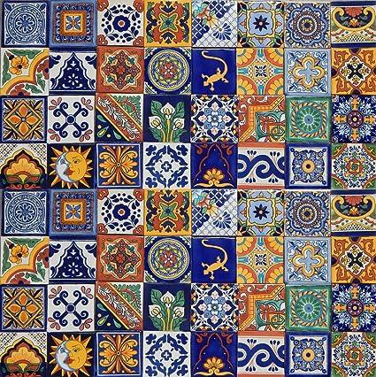Amazon.com: 100 Mexican Ceramic Tiles Handmade Talavera Tiles: Home ...