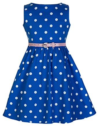 6109b5512e7d6 Lindy Bop Children's 'Audrey' Vintage Inspired Polka Dot Swing Dress (3-4  Years, Blue): Amazon.co.uk: Clothing