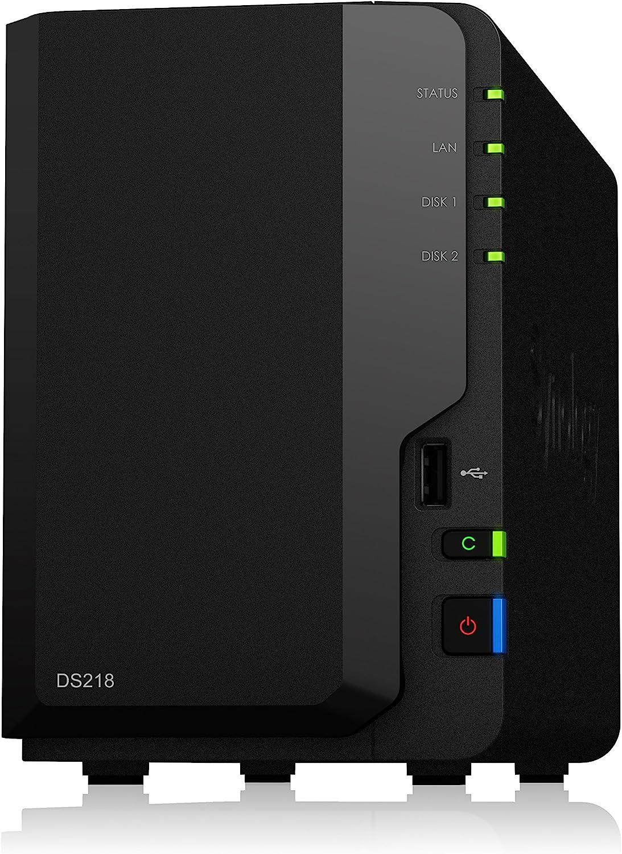 Synology DS218 - Unidad NAS de 2 bahías de Alto Rendimiento, Color Negro