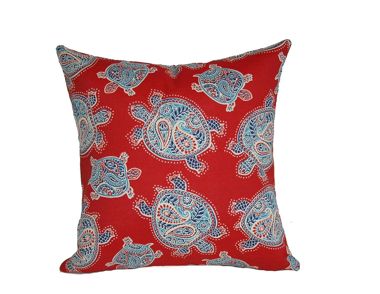 24-Inch Rennie /& Rose Tranquil Turtles Throw Pillow Blue
