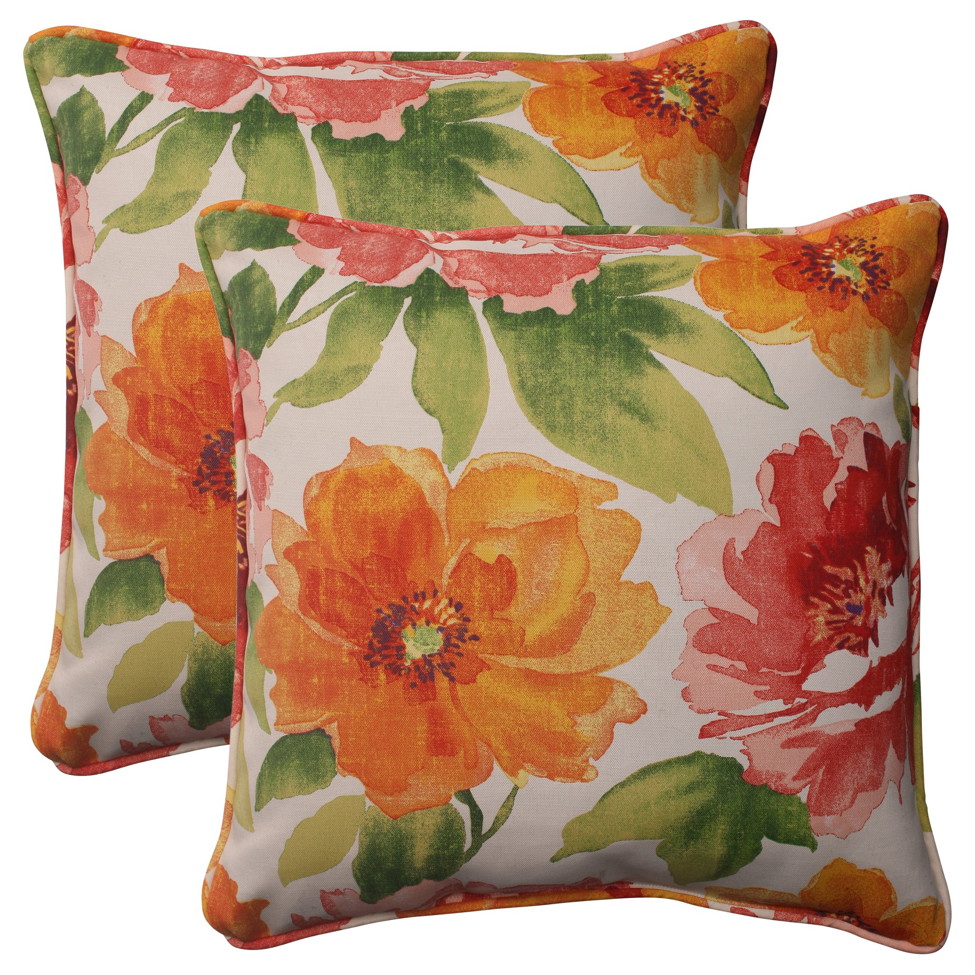 Pillow Perfect Outdoor Primro Corded Throw Pillow, 18.5-Inch, Orange, Set of 2