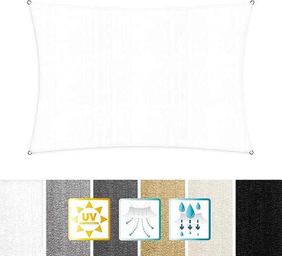 Imagen deLumaland toldo Vela de Sombra 100% Polietileno de Alta Densidad Filtro UV Incl Cuerdas Nylon 2 x 3