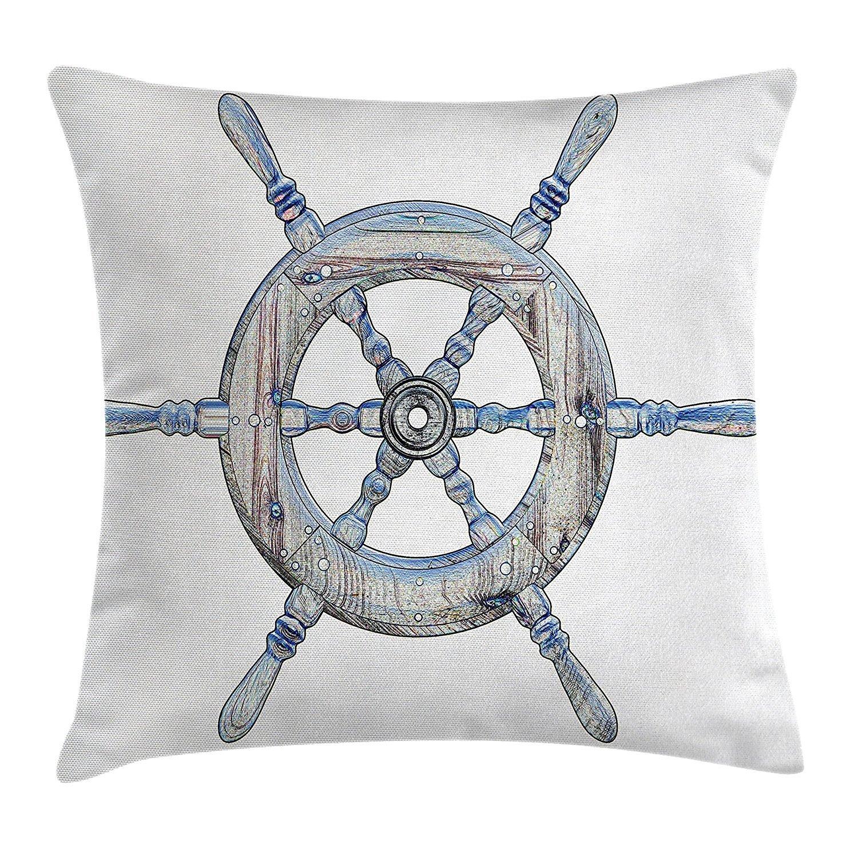 Nautical Decor Throw Pillow Cushion Cover, Illustration Wooden Ship Wheel