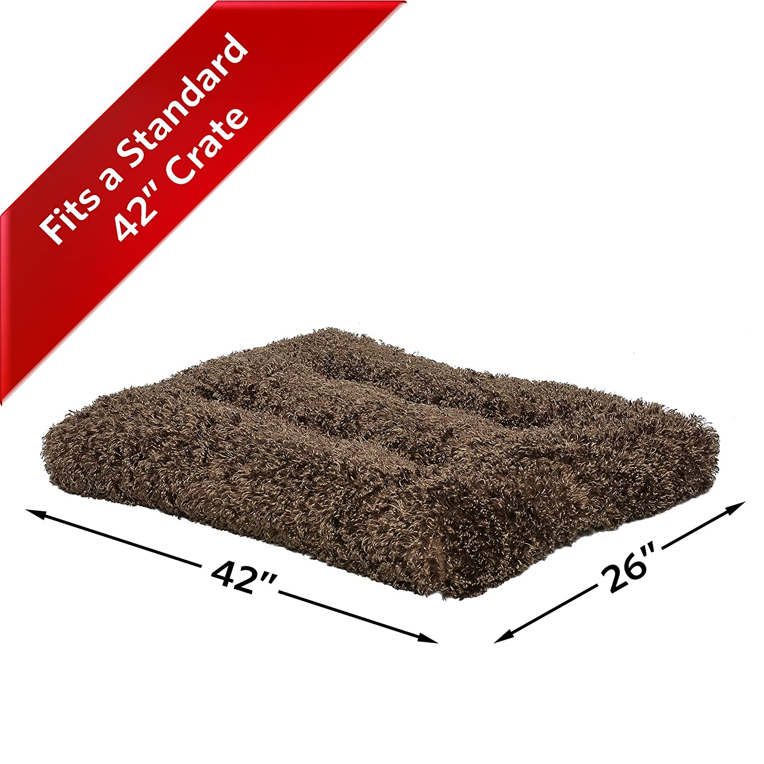 Plush Dog Bed | Coco Chic Dog Bed & Cat Bed | Cocoa 30L x 21W x 2H-Inches for Medium Dog Breeds MidWest Homes For Pets 40630-CC