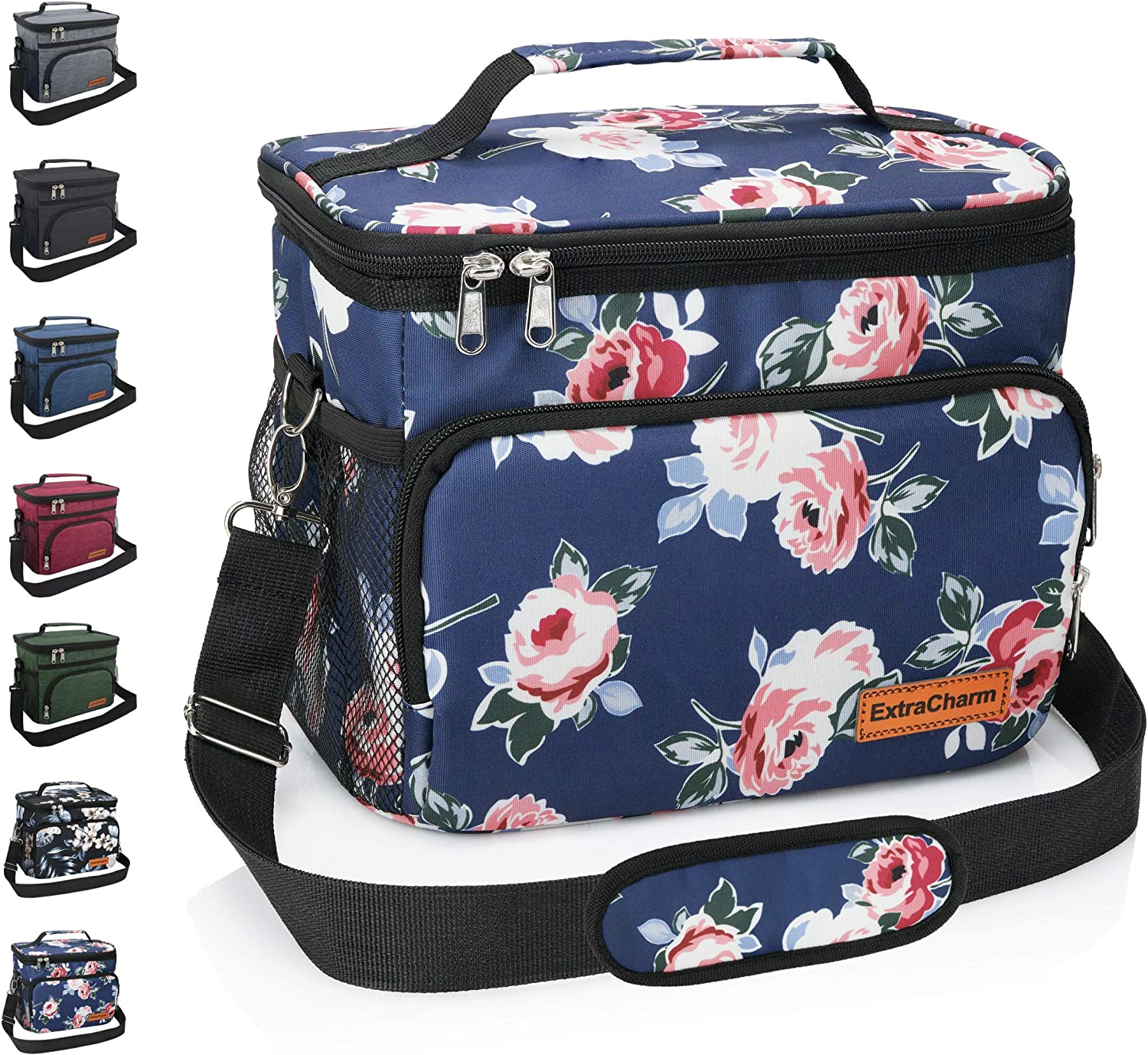 Insulated Lunch Bag for Women/Men - Reusable Lunch Box for School Office Picnic Hiking - Leakproof 12-Can Coke Cooler Tote Bag Organizer with Adjustable Shoulder Strap for Kids/Adults - Romantic Rose