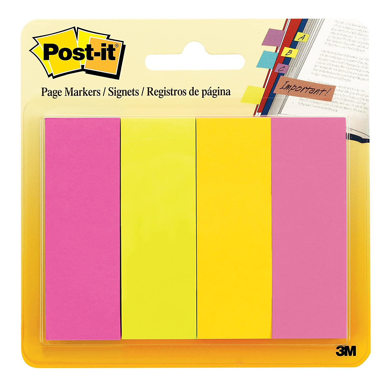 Post-it Page Markers, Assorted Colors, 1 in x 3 in, 50 Sheets/Pad, 4 Pads/Pack (671-4AU)