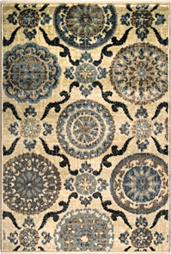 Blue Nile Mills Abner Collection Area Rug, 10mm Pile Height with Jute Backing, Fashionable and Affordable Rugs, Beautiful Scrolling Medallion – 2 x 3 , Cream