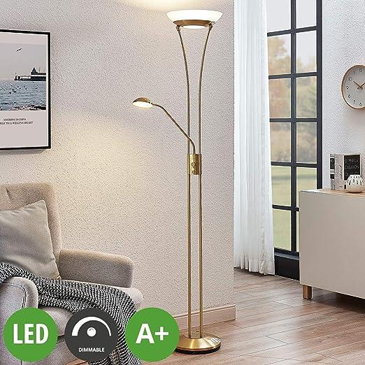 LED Lámpara de pie Amadou en Dorado hecho de Metal e.o. ...