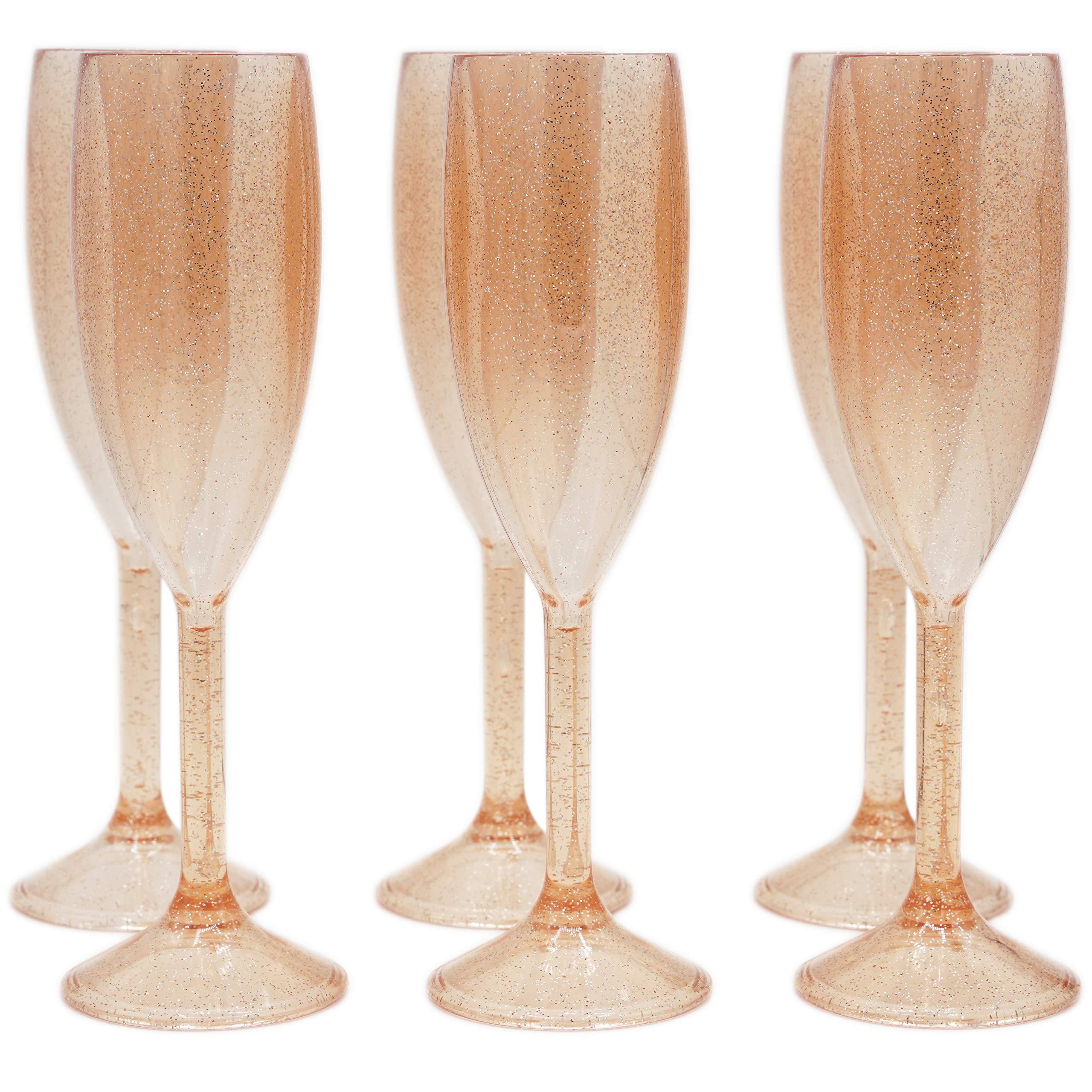 Plastic Champagne Flutes - SET OF 6 Premium Reusable Glasses - 100% Dishwasher Safe - Recyclable & Shatterproof Cups   Rose Gold