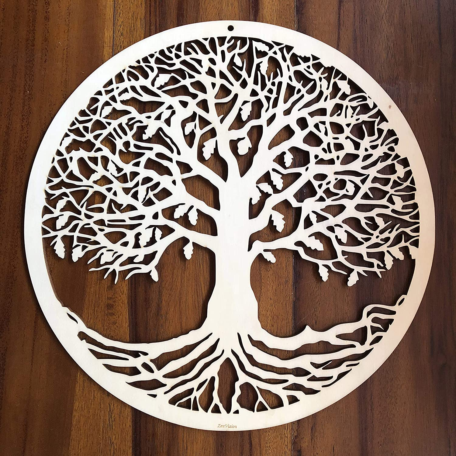"ZenVizion 13.5"" Tree of Life Wall Art, Sacred Geometry Wall Art, Wooden Wall Art Decor, Yoga Wall Art Hanging, Laser Cut Artwork, Wall Sculpture Symbol, Gift Purpose"