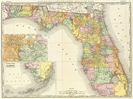 Antique Map Of Florida.Amazon Com World Atlas 1897 Florida Historic Antique Vintage