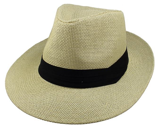 78f9264f63dfd Gelante Wide Brim Summer Fedora Panama Straw Hats with Black Band  M255-Beige-S
