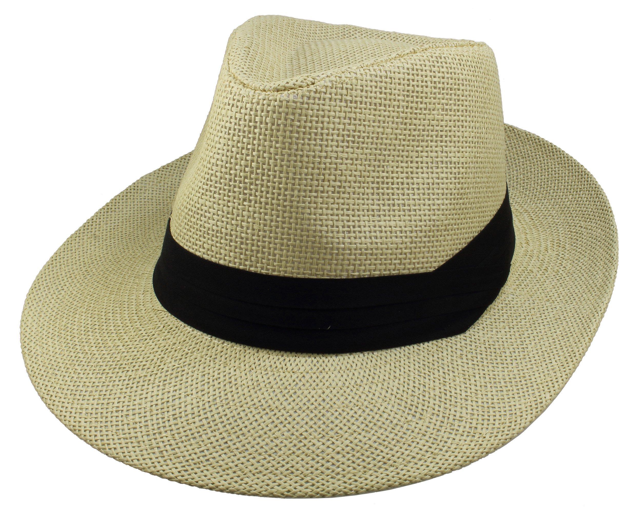 Gelante Wide Brim Summer Fedora Panama Straw Hats with Black Band M255-Beige-S/M