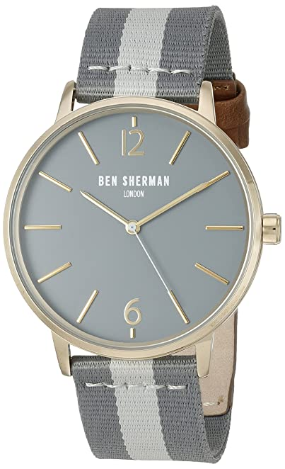Ben Sherman Men's 'Portobello Stripe' Quartz Stainless Steel and Leather Watch, Multi Color (Model: WB044EGA)