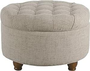 Homepop Large Button Tufted Round Storage Ottoman Light Tan Furniture Decor Amazon Com