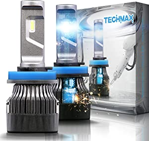 TECHMAX Mini H11 LED Headlight Bulbs,60W 10000Lm 4700Lux 6500K Cool White Extremely Bright 30mm Heatsink Base CREE Chips H8 H9 Conversion Kit(of 2)