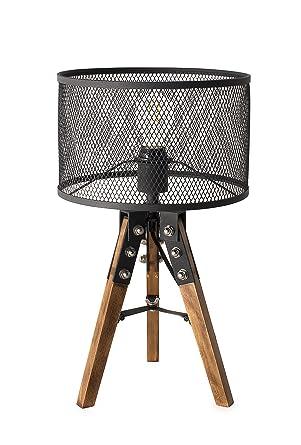 Lámpara de mesa 67 cm retro con interruptor (Madera, incluye ...