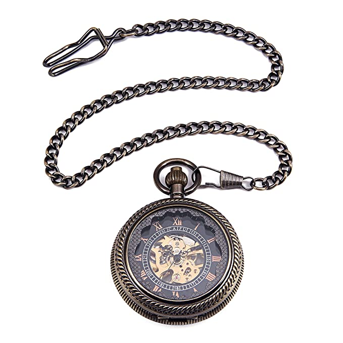Amazon.com: Bronze Tone Wind Up Mechanical Black Dial Roman Number See Though Case Pocket Watch reloj de bolsillo: Watches