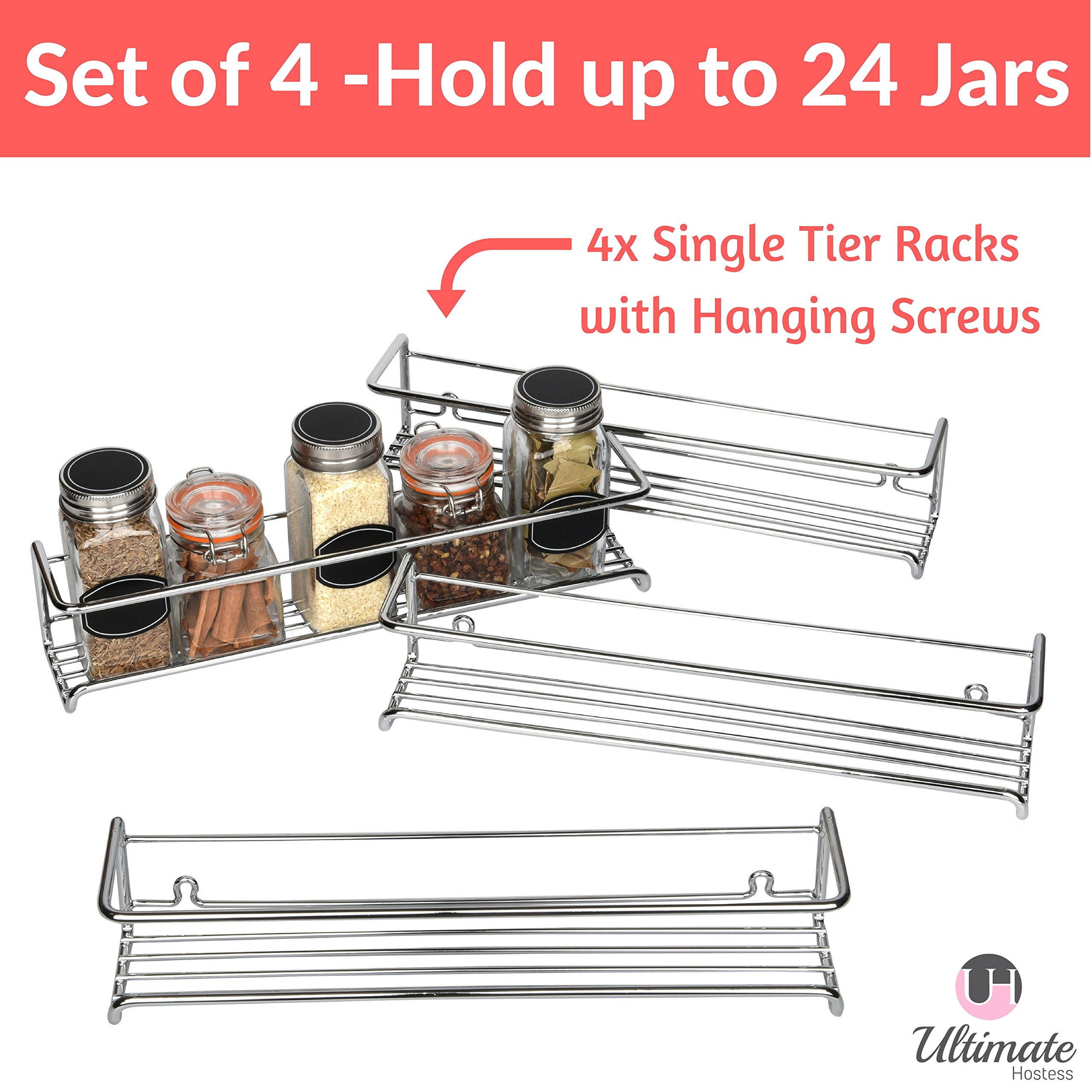 Spice Rack Organizer for Cabinet, Door Mount, or Wall Mounted - Set of 4 Chrome Tiered Hanging Shelf for Spice Jars - Storage in Cupboard, Kitchen or Pantry - Display bottles on shelves, in cabinets by Ultimate Hostess (Image #2)