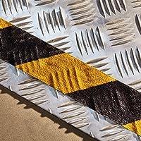 NAC INDUSTRIAL Antirutsch Klebeband NAC SAFETY SELF-ADAPTIVE - Stark Selbstklebend Antirutschband für gemusterte und gehobene Oberflächen - verschiedene Farben und Größen (10cm x 18.3m, Gelb-Schwarz)