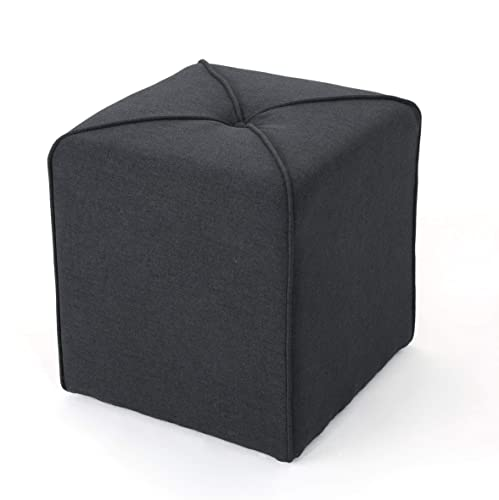 Christopher Knight Home Kenyon Fabric Square Ottoman, Dark Charcoal
