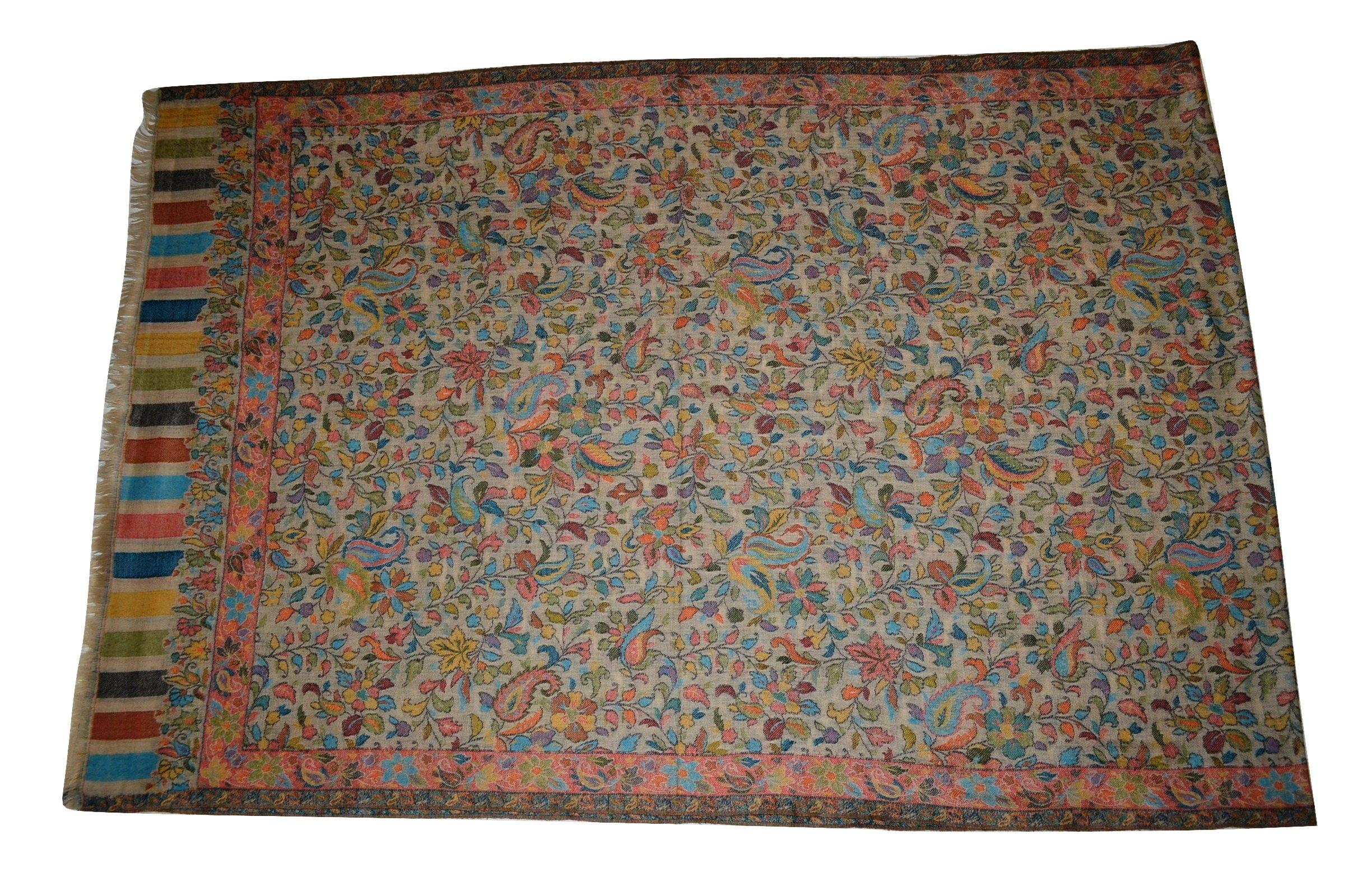 Handmade Pashmina & Fine Wool Fabric Multicolor Floral Paisley KANI Scarf/Stole.X1832
