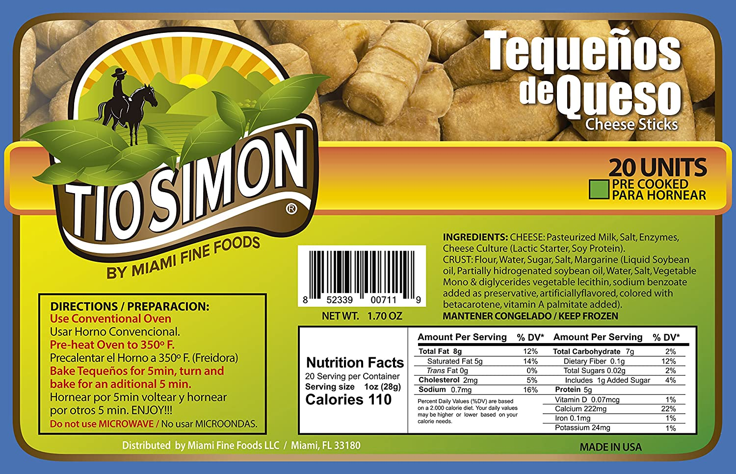Tio Simon Pre-Cooked Tequeños – Frozen Cheese Filled Sticks (Pack of 20 Units): Amazon.com: Grocery & Gourmet Food