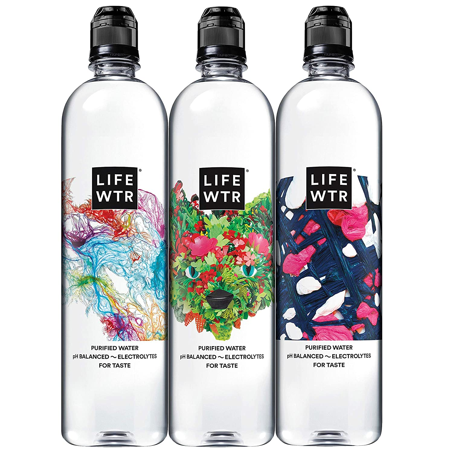 LIFEWTR Premium Purified Water, pH Balanced with Electrolytes For Taste,23.7 Fl Oz Flip Cap Bottles,700 mL (12 Count)