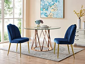 Iconic Home Chelsea Dining Side Chair Vertical Channel Quilted Velvet Upholstered Crown Top Back and Seat Solid Gold Tone Metal Legs (Set of 2) Modern Contemporary, Navy