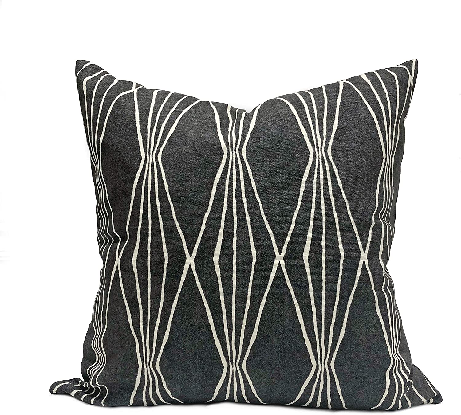 Flowershave357 Robert Allen Home Handcut Shapes Charcoal Fabric Throw Pillow Cover Ivory and Charcoal Geometric Print Pillowcase